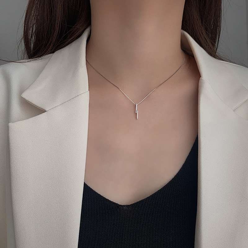 Fashion 925 Sterling Silver Long Geometric Necklace Clavicle Chain Simple Generous Temperament Women Jewelry