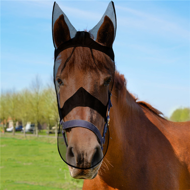 Outdoor Full Face Fly Masks For Horses Breathable Comfortable Horse Care Products Anti Mosquito Mask Equestrian Supplies