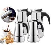 Chaleira de aço inoxidável cafeteira chaleira pote café expresso portátil moka pote pro barista pote 100 ml/200 ml/300 ml/450 ml|Cafeteiras| |  -