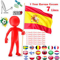 Cccam Europa OSCAM lineas per trasporto sat Ricevitore Satellitare 7 Clines WIFI FULL HD Supporto Cccam DVB-S2 Europea tramite USB wifi dongle
