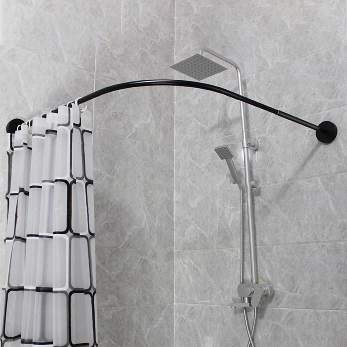 Curved Corner Shower Curtain Rod U Shaped Suction Cups
