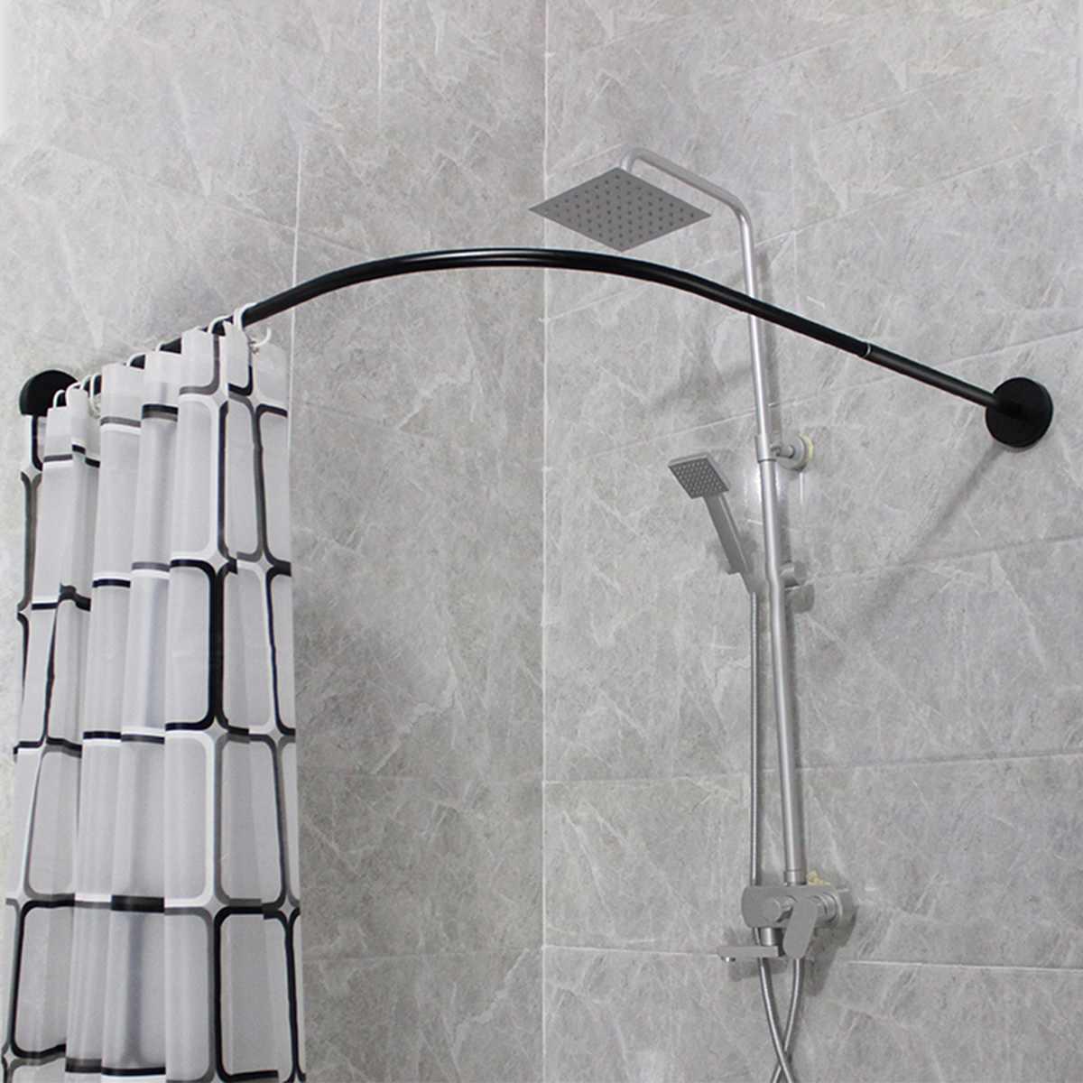 Extendable Corner Shower Curtain Rod Pole 31-47inch Rail Rod Bar Bath Door
