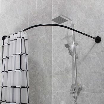 Wysuwane rogu zasłona prysznicowa pręt słup 90-130cm szyna ze stali nierdzewnej pręt Bar wysokiej jakości drzwi do kąpieli sprzętu ciężkich załadowany tanie i dobre opinie Metal STAINLESS STEEL Ekologiczne Filar shower curtain rod Black