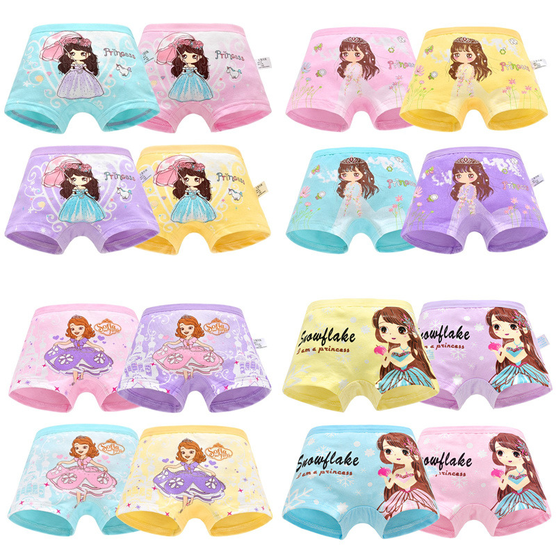4pcs/lot Girl Underwear Cotton Boxer Princess Children Kids Panties Briefs Female Lovely Cartoon Panties Children Clothing