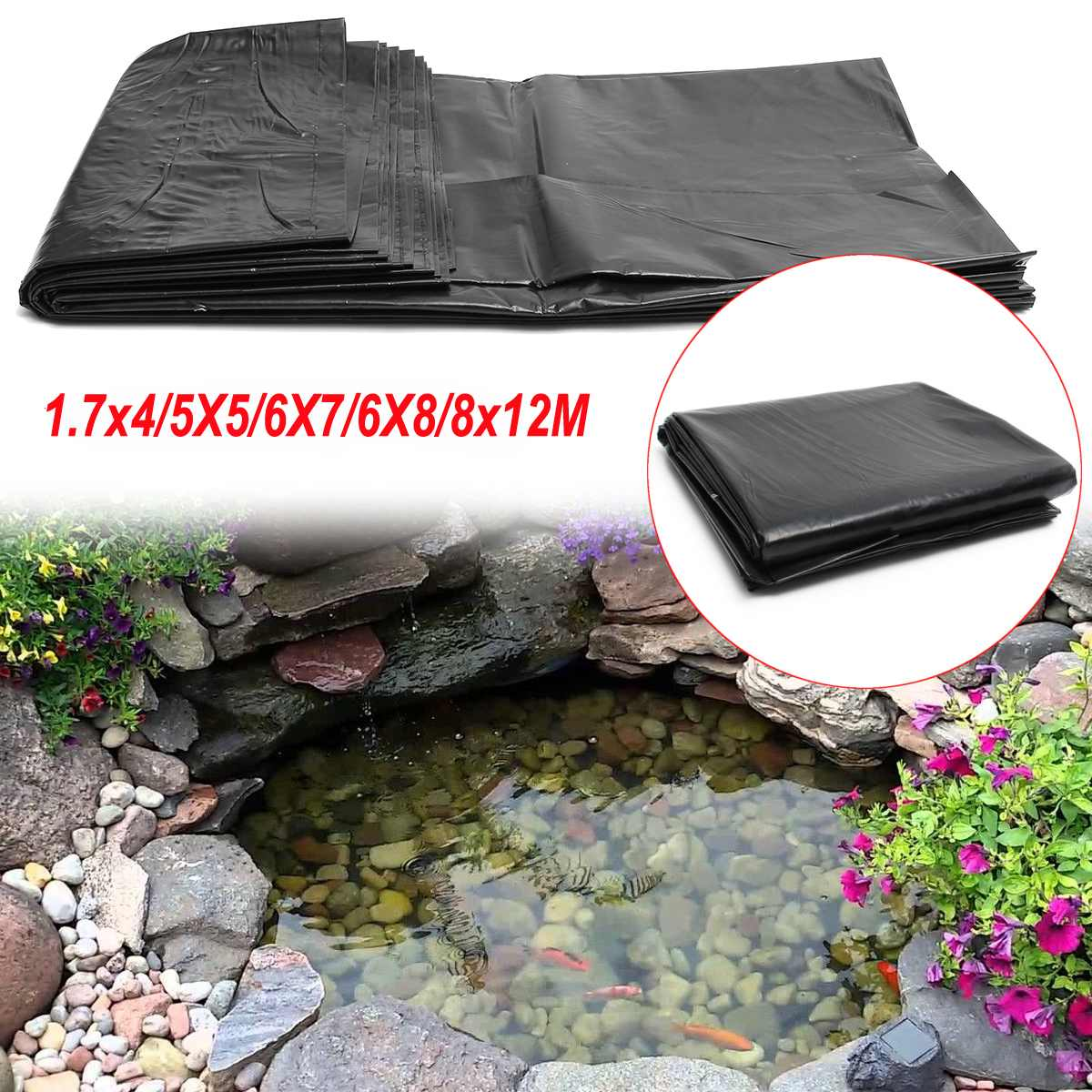 Waterproof-Membrane Pond Liner Rubber HDPE Fish Thick Heavy Multiple-Sizes 6x4m/1.7x4