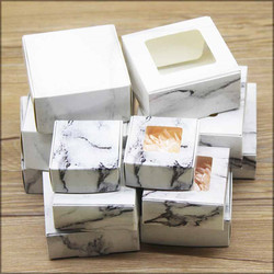 10pcs new DIY Handmade gifts box Multi size Marbling style paper candy window boxes cake Package For Wedding home party suppiles