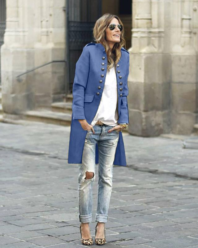 Manteau Femme Winter Coat Women Autumn Solid Button Long Sleeve Top Double-Breasted Long Coat Abrigo Mujer Casaco Feminino