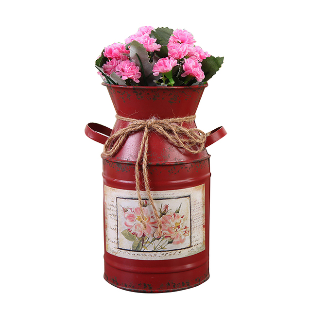 Garden Plants Flower Vase Iron Bucket Home Decoration Pots Arrangement Craft Rural Style Shabby Gift Wedding Vintage Table 4