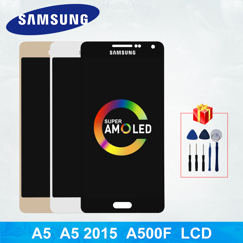 Super AMOLED For <font><b>Samsung</b></font> Galaxy A5 2015 LCD A5 <font><b>A500FU</b></font> A500 A500F LCD Touch Screen Digitizer Display Replacement Parts A5 Display image