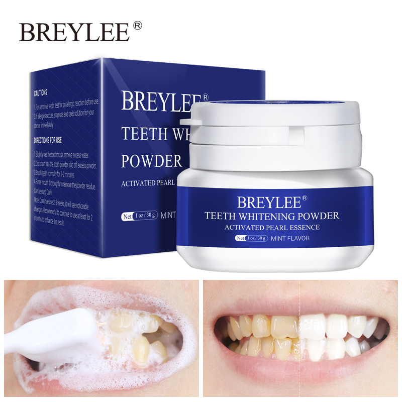 BREYLEE Teeth Bleaching Powder Tooth Paste Remove Plaque Spot Bleaching Dental Tools Oral Hygiene White Toothbrush Cleaning 30g