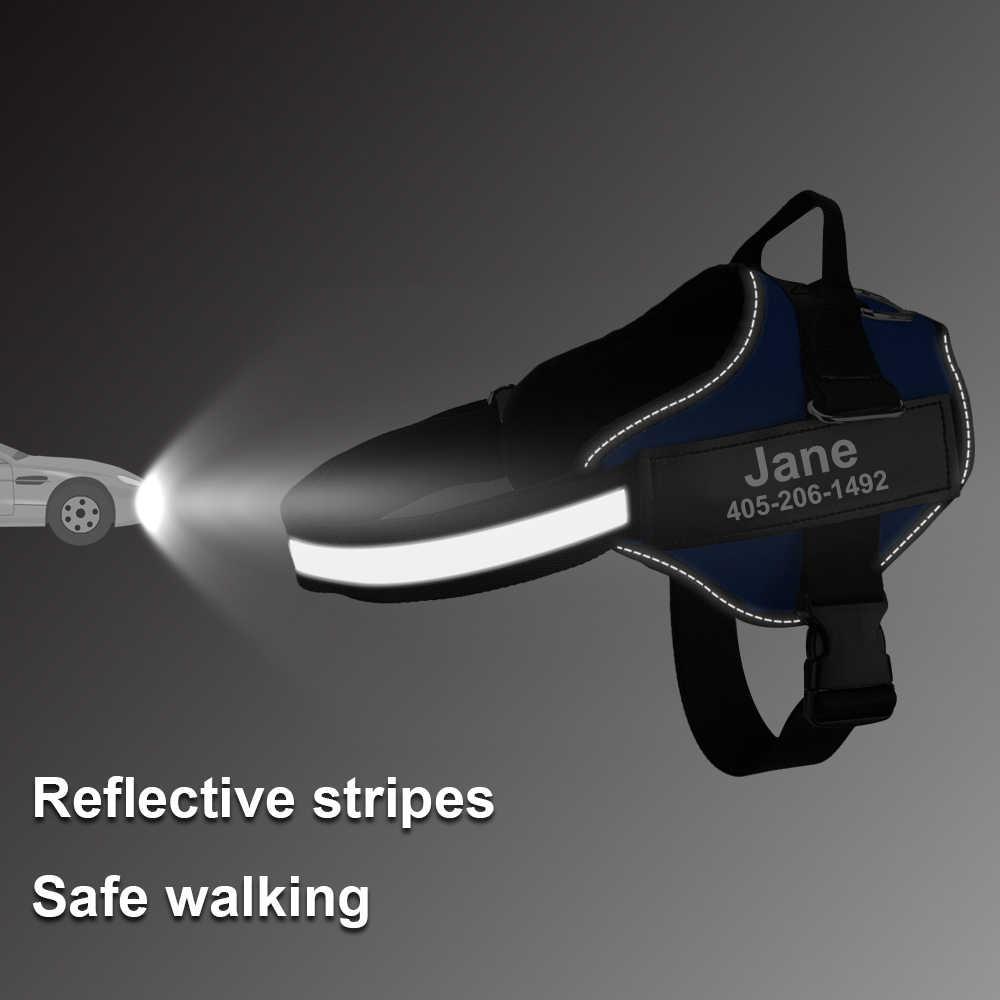Arnés de perro personalizado chaleco reflectante arnés de mascota ajustable para pequeño ID grande parche personalizado para perros que caminan al aire libre