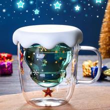 Cute Christmas Tree Mug Double Wall Glass Coffee Cups with Silocone Lid Snowflake Star Xmas Gift Wine Tea Milk Water Tumbler