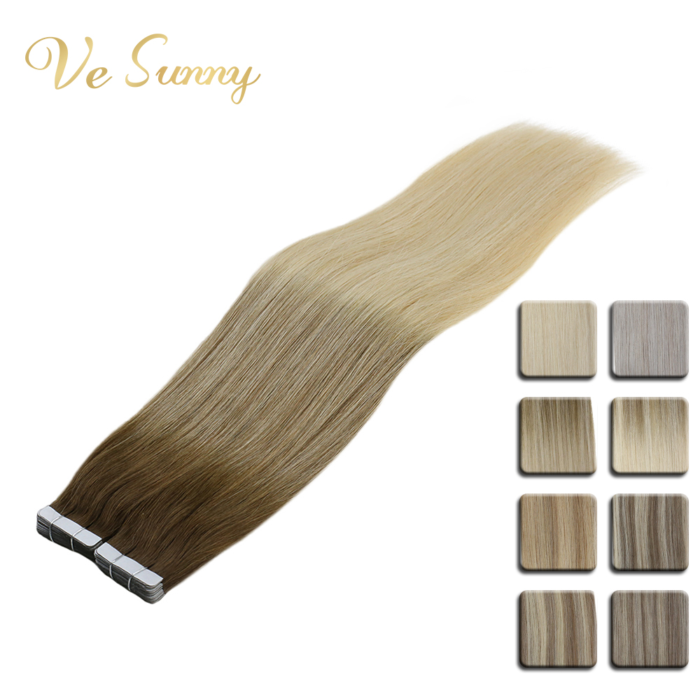 VeSunny Tape In Hair Extensions 100% Real Human Hair Light Root Blonde Balayage Brown Highlights Adhesive Tape On Extensions