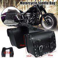 Pair Universal Motorcycle Saddlebag PU Leather Rivet Stitched Saddle Bags Tool Luggage Bag For Honda/Suzuki/Yamaha