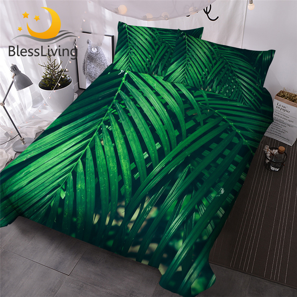 BlessLiving Green Leaf Bedding Set King Leaves Texture Duvet Cover Jungle Tropical Palm Foliage Home Textiles 3-Piece Bedspreads