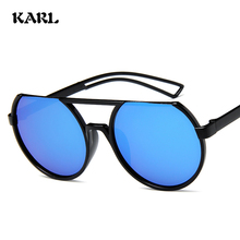 купить Retro Women Round Sunglasses Fashion Colorful High Definition Lens Glasses Brand Designer Flat Top Round Sunglass Gafas De Sol дешево