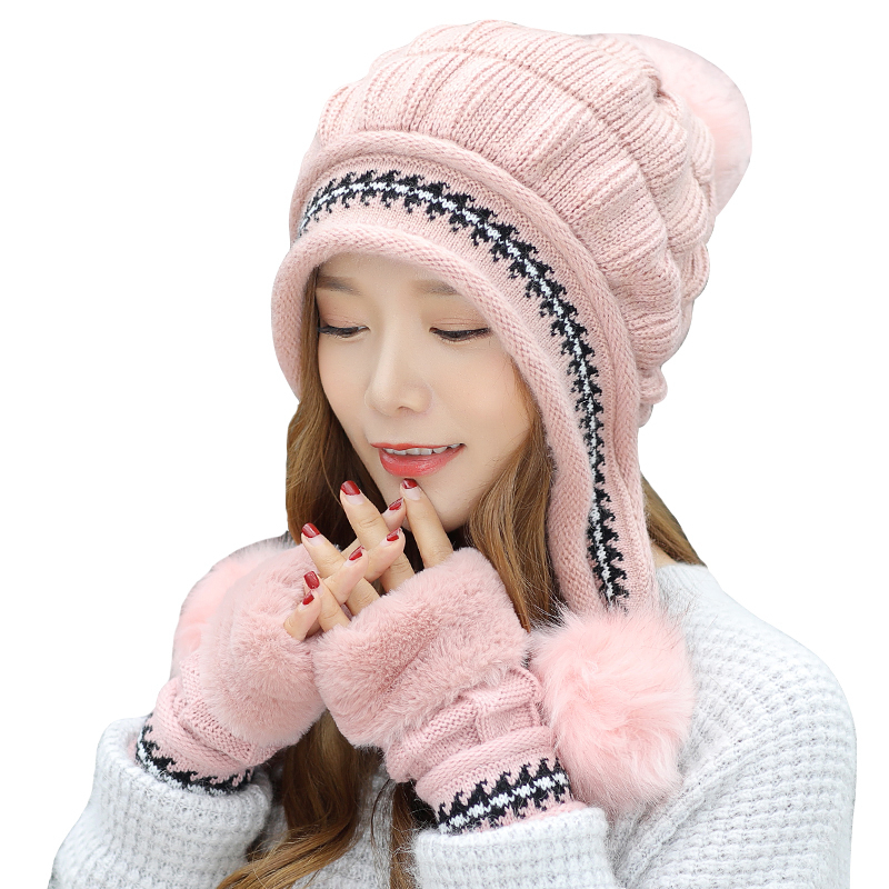 Girl Warm Ski Brand Rabbit Fur Pom Poms Warm Gloves + Knit Hat Set Winter Women Wool Beanie Hat Thick Skullies Female Cap