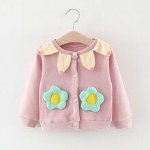 22019 осенние детские куртки для девочек, пальто-кардиган, Детская Милая верхняя одежда с длинными рукавами и цветочным принтом для малышей, пальто, Casaco S9677