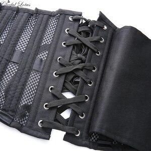 Image 4 - Short Torso Underbust Corset Waist Trainer Gothic Steampunk Bustier Corset Body Shaper 26 Steel Boned Breathable Mesh Lace Up