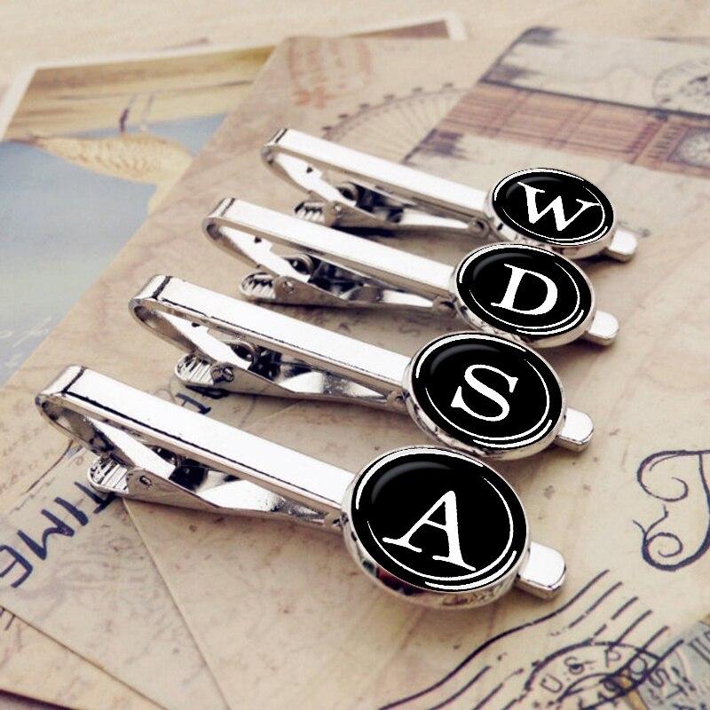 26 Alphabet Letters Tie Clips Men Fashion Custom Name Tie Pin Bar Clasp Clip Necktie Decoration Suit Accessories