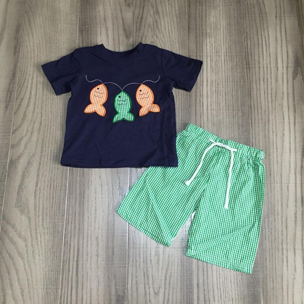 baby boy summer outfit boys fishing shirt with green plaid shorts baby children fishing clothing
