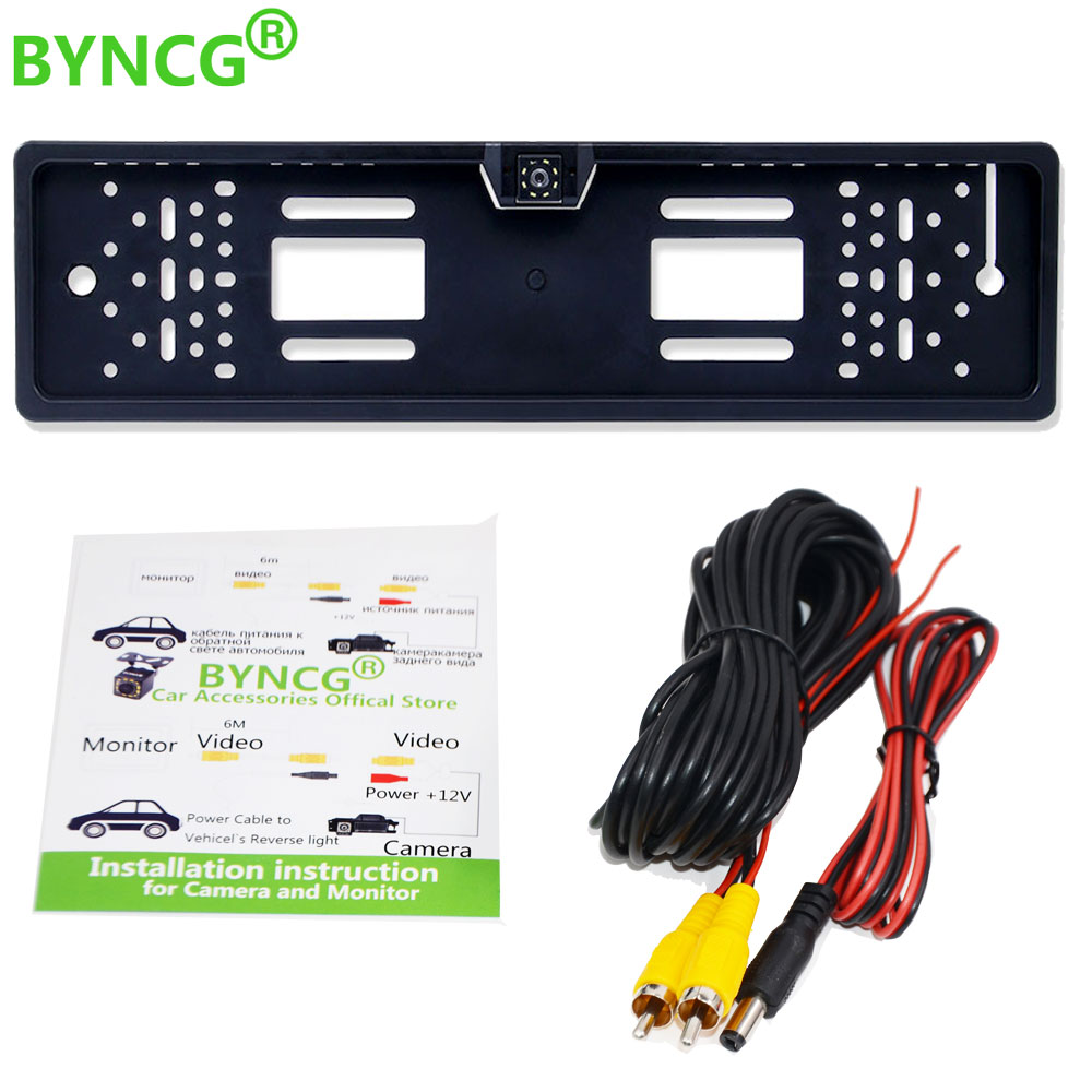 BYNCG 2020 New Arrival European Car License Plate Frame Auto Reverse Backup Rear View Camera 12LED Universal CCD Night Vision