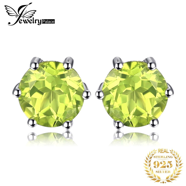 JewelryPalace 1ct Genuine Peridot Stud Earrings 925 Sterling Silver Earrings For Women Korean Earings Fashion Jewelry 2019