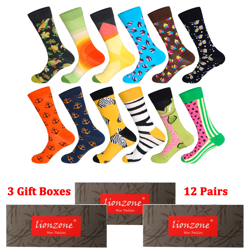 3 Gift Boxes Total 12 Pairs Men Funny Colorful Combed Cotton Socks Dozen Pack Casual Dress Wedding Happy Socks