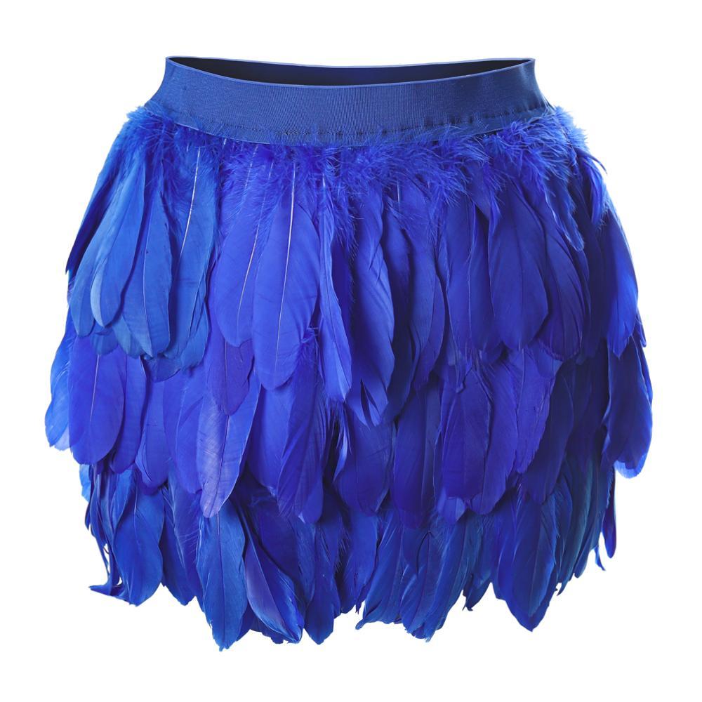 Falda con correa de plumas azules, cinturón de cintura, cinturón suave de arte Harajuku para baile Rave, vestido Sexy de Bondage corporal, liguero de talla grande arnés elástico