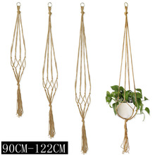 90-122cm Handmade Flower Pot Net Bag Braided Home Vintage Decor Plant Hanging Basket Knotted Rope Garden Plant Hanger Pot Tray