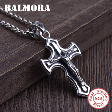 BALMORA 925 Sterling Silver Cross Religious Pendant for Men Fashion Punk Style Christian Jewelry Accessories Without a Chain