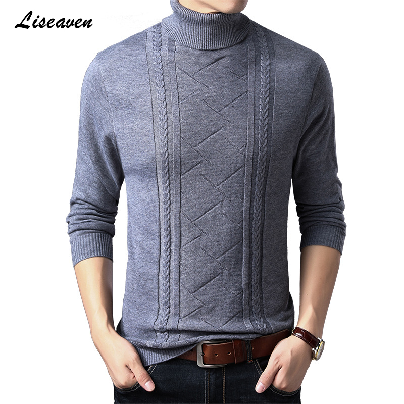 Liseaven Pullover Sweater Men's Turtleneck Casual Sweaters Men's Clothing 2019 New Arrival Tops