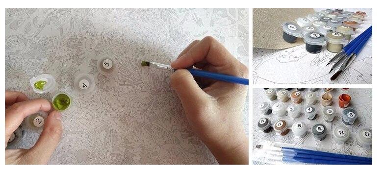 Абстрактный светильник wth животные холст картины Акриловая Краска по номерам для детей взрослых искусство Сделай Сам краска по номерам для домашнего декора