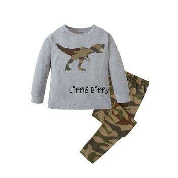 100 Cotton Boys and Girls Long Sleeve Pajamas Sets Children's Sleepwear Kids Christmas Pijamas Infantil Homewear Nightwear - PW020, 3T