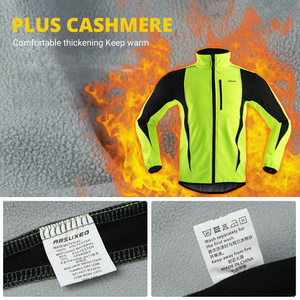 Image 4 - ARSUXEO Winter Warm Up Thermal Fleece Cycling Jacket Bicycle MTB Road Bike Clothing Windproof Waterproof Long Jersey Jersey
