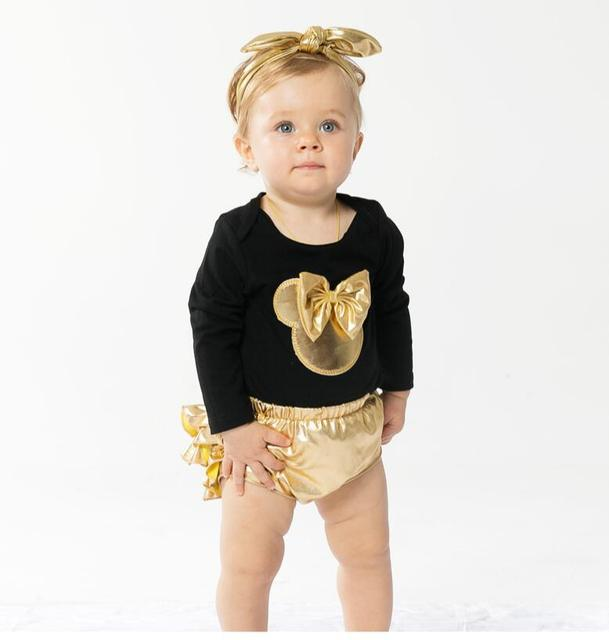 Moda dziewczynek ubrania koszule z krótkimi rękawami bowtie romper + spodenki sukienka + pałąk 3 sztuk niemowlę dziewczynek ubrania zestawy