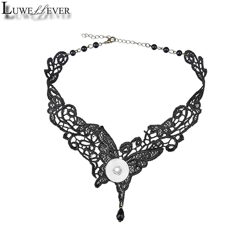 Black Butterfly Lace Necklace 12mm 18mm Snap button Choker Necklace 003 Women Fashion Gothic Choker Handmade Charm Jewelry Gift image