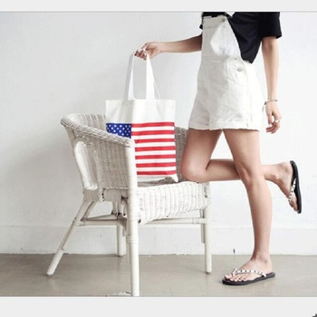 Simple Design Canvas Tote Bag Reusable Canvas Bag Women Shopping Bag Larg Tote Unisex American Flag Printing Canvas Tote Bag casual women s tote bag with leopard print and canvas design