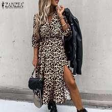 Dresses Ladies Robe Puff-Sleeve Spring Leopard-Print Midi ZANZEA Autumn Womens Holiday