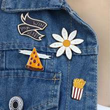 Funny French Fries Pizza Brooch Pin Sweater Denim Jacket Collar Badge(China)