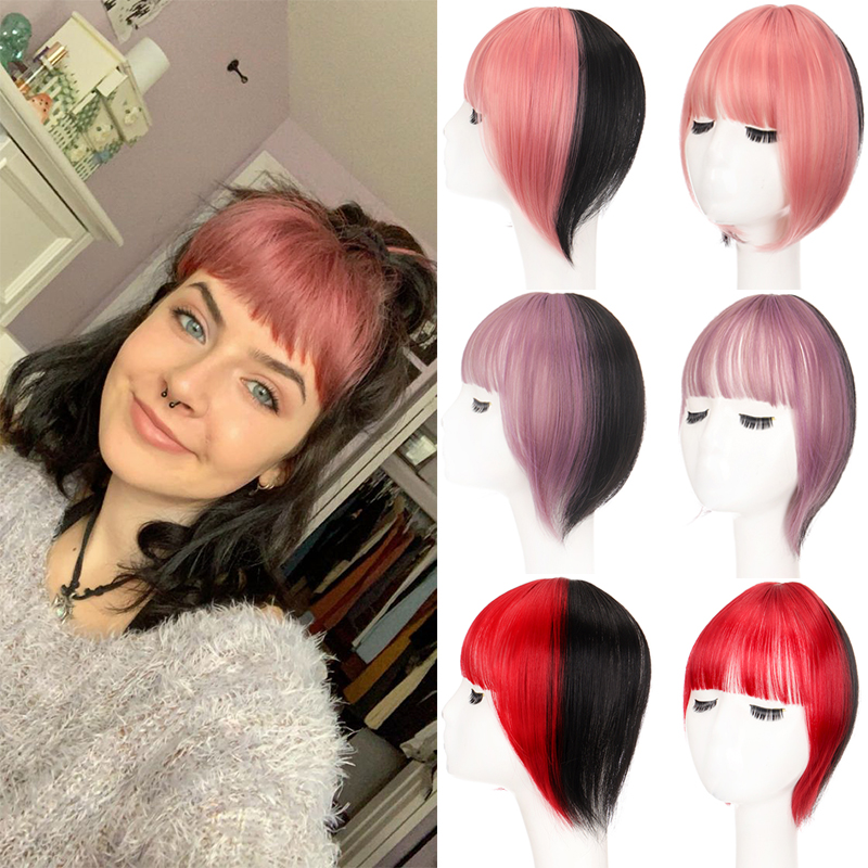 XUANGUANG Synthetic Fake Bangs Hair Clip Clip To Extend The Bangs In The Wig For Hair Extension Ladies Two-Tone Bangs Daily Wear