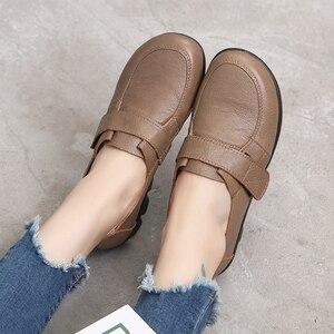 Image 3 - GKTINOO الربيع السيدات جلد طبيعي اليدوية أحذية النساء هوك و حلقة حذاء مسطح النساء 2020 الخريف لينة المتسكعون الشقق