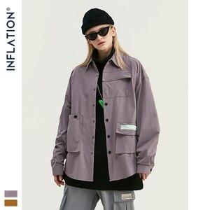 Image 4 - INFLATION DESIGN koszula męska luźny krój z długim rękawem koszula męska Solid Color z Grandad Collar Streetwear Oversized koszula męska 92153