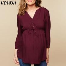 VONDA, женская блузка, рубашка,, осенняя, повседневная, для беременных, Blusas, топы, сексуальный, v-образный вырез, полный рукав, высокая талия, размера плюс, пуловер для беременных