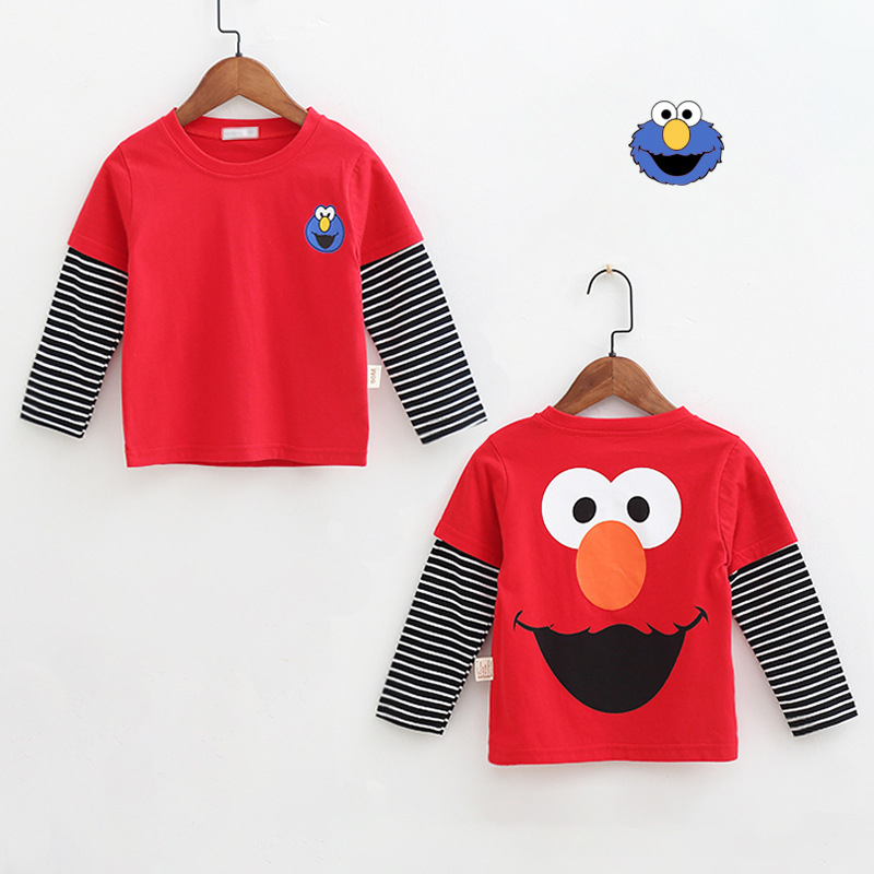 New Spring Boys Girls Cartoon Cotton T Shirts Children Tees Boy Girl Long Sleeve T Shirts Kids Tops Brand Baby Clothes 12M-8Y 48