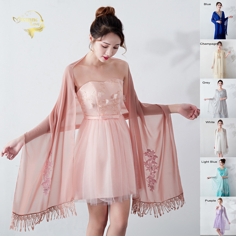 Long Chiffon Bolero Stole Lace Appliques Beaded Evening Dresses Wedding Shawls Wraps With Tassel Bridal Capes Party Ladies Scarf