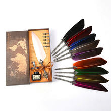 Ручка перьевая винтажная в стиле ретро карандаш с перьями и