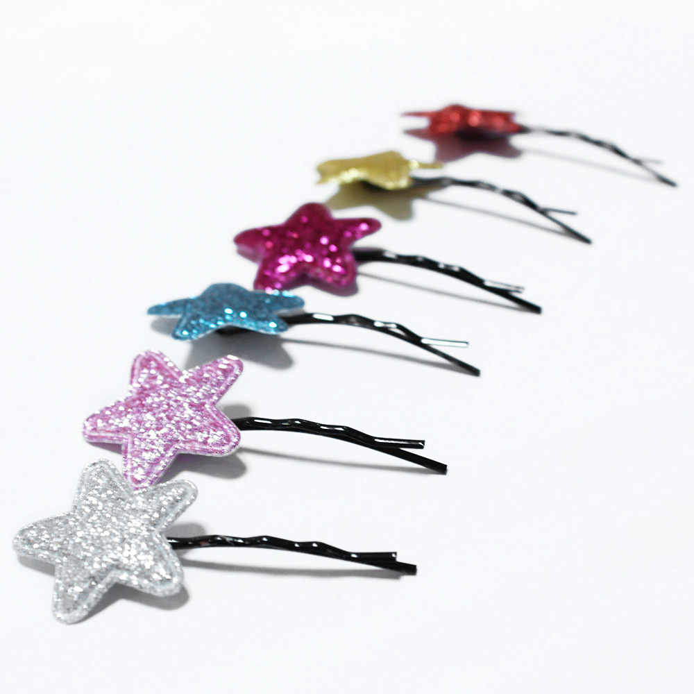 Girls Hair Pins 2PCS Hair Clips Girls Party Sequins Princess Star Leather Hair Style Buckle Hair Accessories For Girls Gift