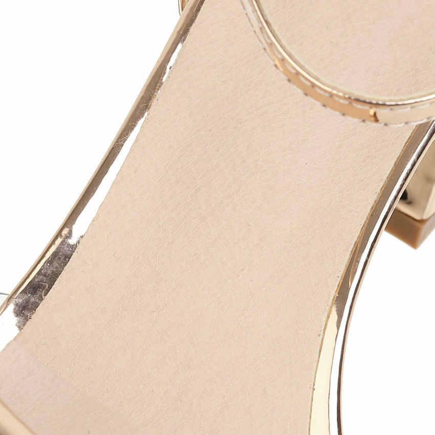 Женские босоножки с пряжкой на пятке QUTAA, черные прозрачные босоножки из искусственной кожи на высоком квадратном каблуке, размеры 34-43, для лета, 2020