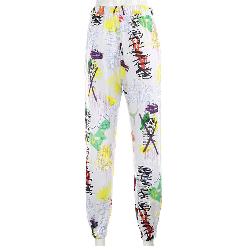 سويتشيرت جرافيتي فضفاض البضائع السراويل النساء عداء ببطء Sweatpants جيوب غير رسمية مرونة عالية الخصر بنطلون أنثى الهيب هوب الشارع الشهير
